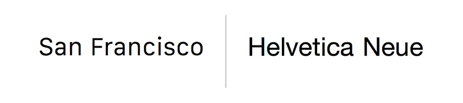 typeface comparison Helvetica San Francisco